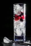Vetro di ghiaccio con il ribes nero ed acqua rossi delle uva spina della bacca Cocktail di rinfresco Bevanda di estate Immagini Stock