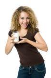 Vetro di latte Immagini Stock Libere da Diritti