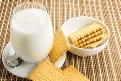 Vetro di latte con i biscotti Immagini Stock Libere da Diritti