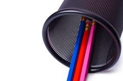 Vetro di plastica per le matite Fotografia Stock Libera da Diritti