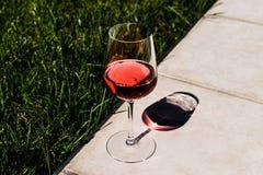 Vetro di Rose Wine alla luce naturale del giardino Fotografia Stock