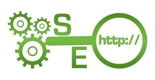 Vetro di SEO Text Green Gears Magnifying illustrazione vettoriale