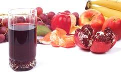 Vetro di spremuta e di frutta Fotografie Stock