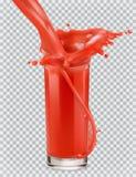 Vetro di succo rosso e di una spruzzata Pomodoro, fragole Innesta l'icona illustrazione vettoriale