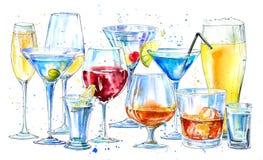Vetro di un champagne, di un martini, di un whiskey, di una vodka, di un vino, di un liquore, di una birra, di un cognac e di un  illustrazione di stock