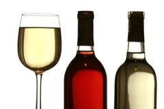 Vetro di vino bianco, con le bottiglie di vino rosso e bianco Fotografia Stock