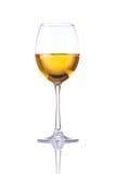 Vetro di vino bianco isolato su bianco Immagini Stock Libere da Diritti