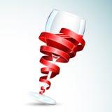 Vetro di vino con il nastro Immagine Stock