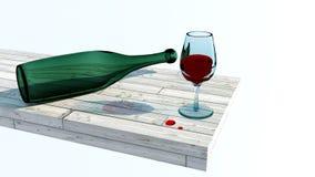 Vetro di vino con la bottiglia Immagine Stock