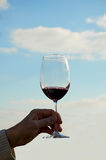 Vetro di vino contro il cielo blu Fotografia Stock