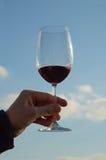 Vetro di vino contro il cielo blu Fotografia Stock Libera da Diritti