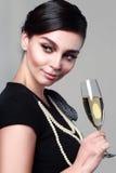 Vetro di vino della donna Fotografia Stock Libera da Diritti