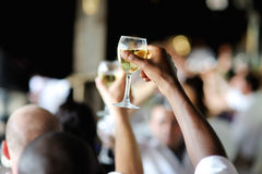Vetro di vino della holding della mano degli uomini Immagini Stock Libere da Diritti