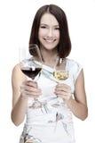 Vetro di vino della tenuta della donna immagine stock libera da diritti