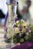Vetro di vino di nozze Immagini Stock Libere da Diritti