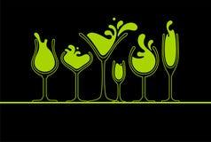 Vetro di vino di Splasing sul nero Immagini Stock