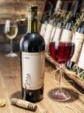 Vetro di vino e della bottiglia di vino Immagini Stock