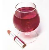 Vetro di vino e di rossetto Fotografia Stock Libera da Diritti