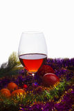 Vetro di vino e lamé Immagine Stock