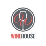 Vetro di vino Logo Design Background Fotografia Stock Libera da Diritti