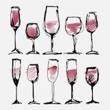 Vetro di vino messo - la raccolta ha schizzato i bicchieri di vino e la siluetta dell'acquerello Fotografia Stock