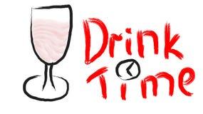 Vetro di vino nero su una gamba con il Merlot del vino rosso spillato a mano e su una bella bevanda di tempo di scrittura con un  royalty illustrazione gratis