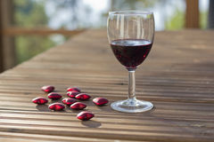 Vetro di vino rosso Fotografia Stock Libera da Diritti