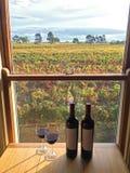 Vetro di vino rosso accanto alle bottiglie vicino alle finestre con la vista morbida di Fotografia Stock Libera da Diritti