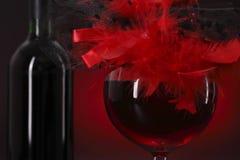 Vetro di vino rosso con un cappello della piuma Immagine Stock Libera da Diritti