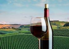Vetro di vino rosso con una bottiglia sui precedenti della l rurale Fotografia Stock