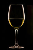 Vetro di vino su priorità bassa nera Fotografia Stock Libera da Diritti