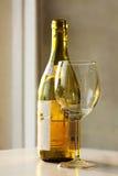 Vetro di vino sui precedenti verdi del botle Fotografie Stock Libere da Diritti