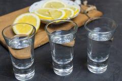 Vetro di vodka E limone che affetta su un piatto Posto per il vostro testo Immagini Stock Libere da Diritti