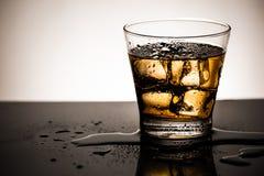 Vetro di whiskey scozzese con il cubetto di ghiaccio, la bevanda fredda di alcool e la riflessione su vetro fotografie stock