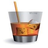 Vetro di whisky con i cubi di ghiaccio royalty illustrazione gratis