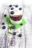 Vetro di yogurt con i mirtilli freschi Fotografie Stock