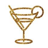Vetro dorato di scintillio dell'icona piana della bevanda del cocktail di martini Immagine Stock