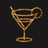 Vetro dorato di scintillio dell'icona piana della bevanda del cocktail di martini Fotografia Stock