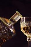 Vetro e bottiglia del cognac Fotografia Stock