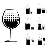 Vetro e bottiglia dell'alcool Fotografie Stock Libere da Diritti