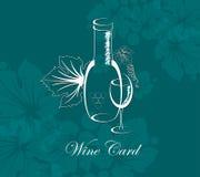 Vetro e bottiglia della bevanda dell'alcool della scheda del vino Fotografie Stock