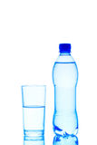 Vetro e bottiglia di acqua Fotografia Stock Libera da Diritti