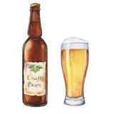 Vetro e bottiglia di birra dell'acquerello fotografia stock libera da diritti