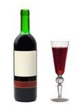 Vetro e bottiglia di vino con il contrassegno vuoto Fotografie Stock