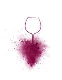Vetro ed uva di vino del disegno della mano illustrazione di stock