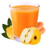Vetro isolato della bevanda di frutta del limone Ca e della scossa della banana isolato Fotografia Stock Libera da Diritti