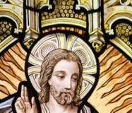 Vetro macchiato - ascensione di Gesù immagini stock libere da diritti