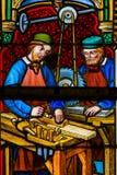 Vetro macchiato - carpentieri sul lavoro immagine stock