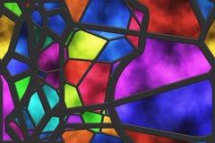 Vetro macchiato creativo della finestra Griglia del metallo della parete illustrazione vettoriale