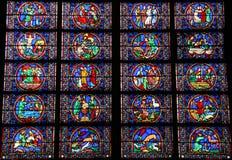 Vetro macchiato del Notre Dame de Paris Fotografia Stock